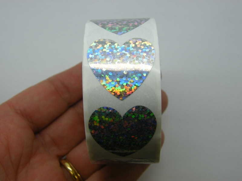 1 Roll 500 silver glitter heart stickers