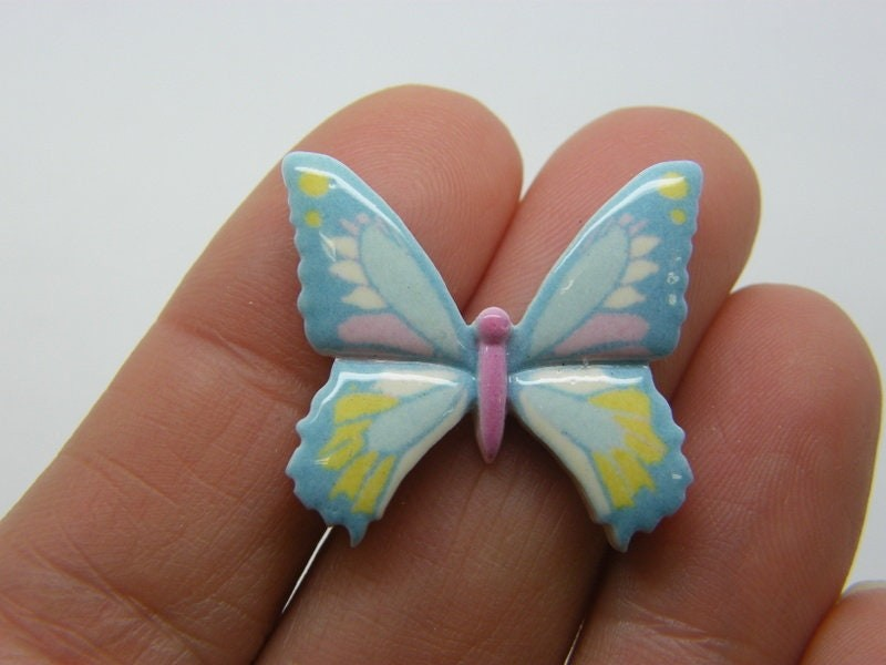 8 Butterfly embellishment cabochons blue resin A805