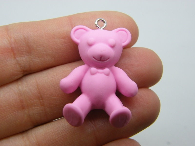2  Teddy bear pendants dark pink resin P302