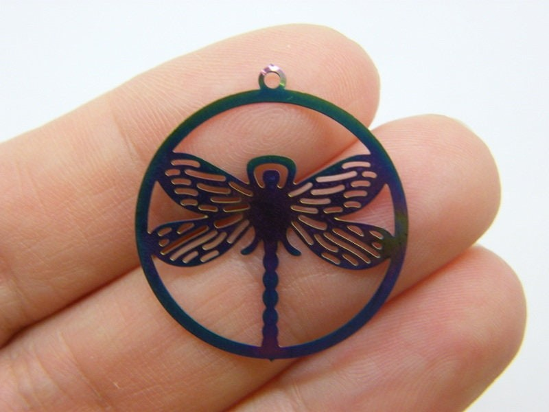4 Dragonfly charms multi colour stainless steel A942
