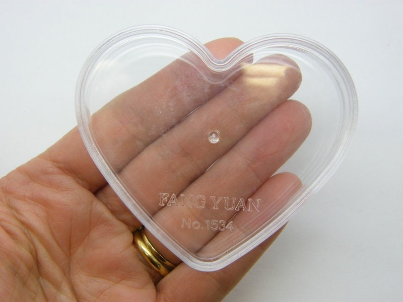 2 Heart storage containers clear plastic