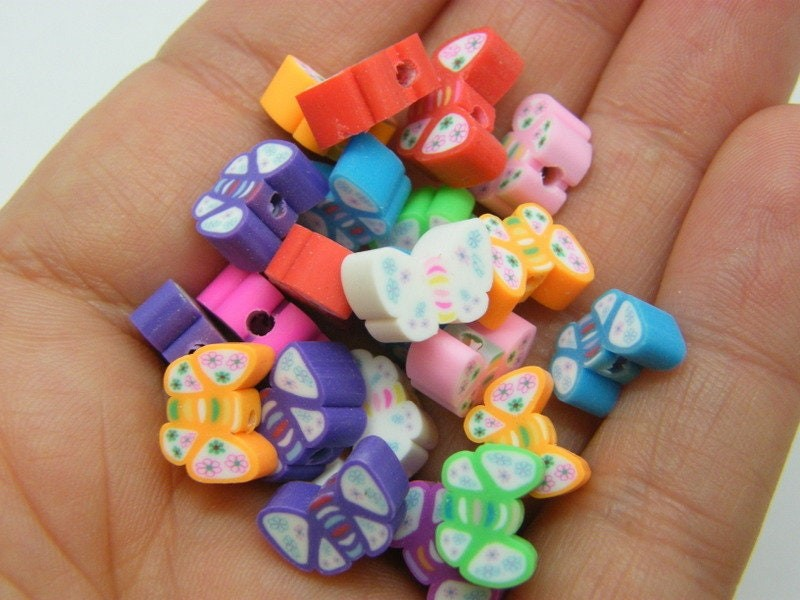30 Butterfly beads random mixed polymer clay A754