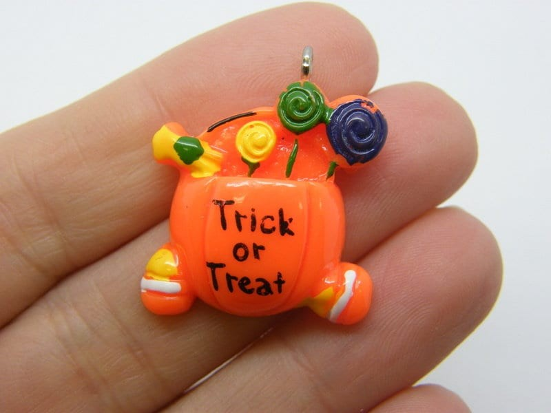 2 Trick or treat candy pumpkin bucket charms orange resin HC558