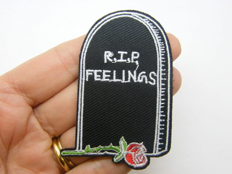 1 RI.I.P. feelings tombstone patch red black white embroidered fabric HC8