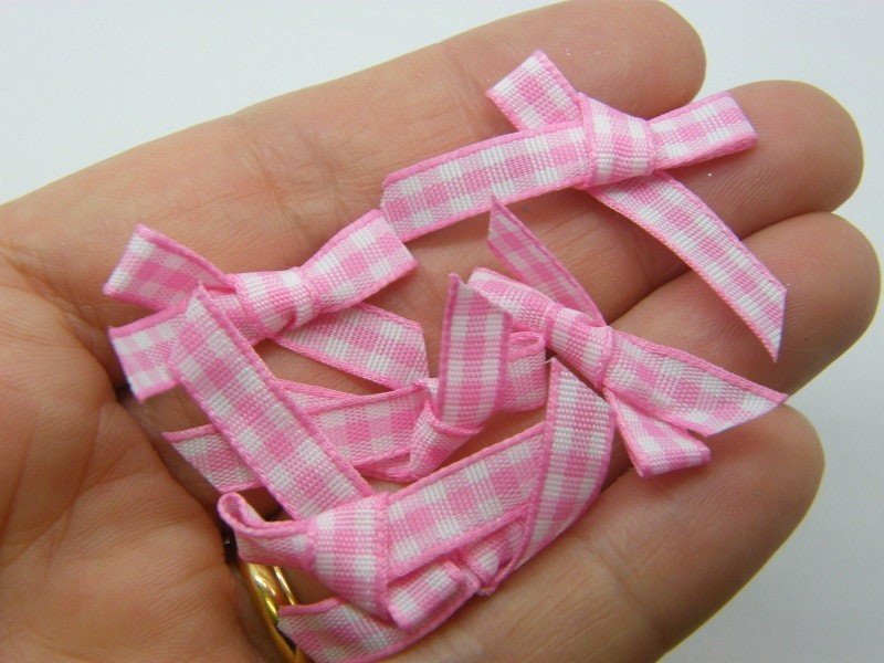 20 Gingham ribbon bows pink white material FS