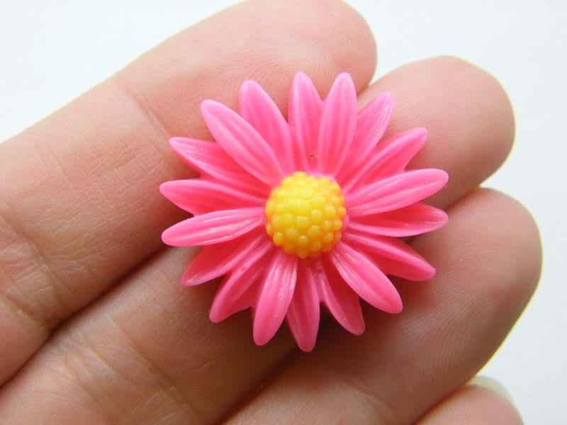 8 Daisy flower embellishment cabochons pink yellow resin F492