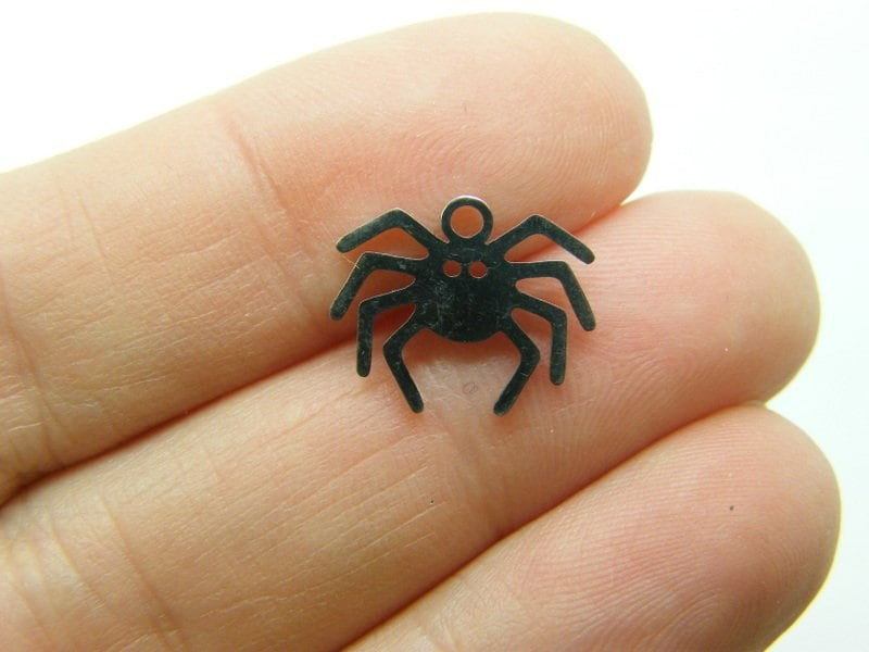 2 Spider charms silver tone stainless steel HC328