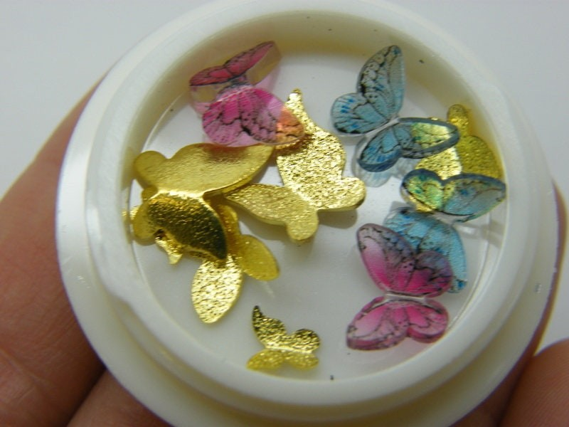 10 Butterfly embellishment cabochons nail art resin A941
