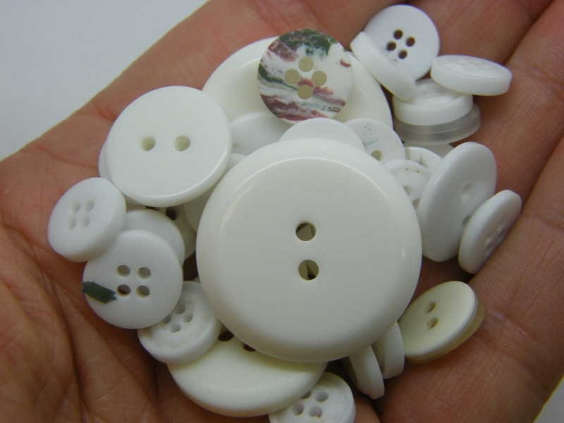 50 White buttons assorted resin P666