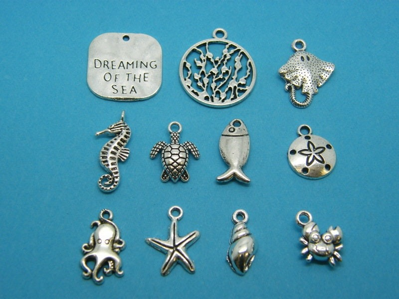 Dreaming of the sea collection - 10 different antique silver tone charms