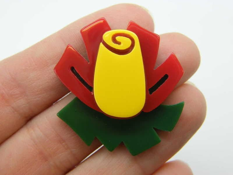 2 Flower embellishments cabochons red yellow green resin F475