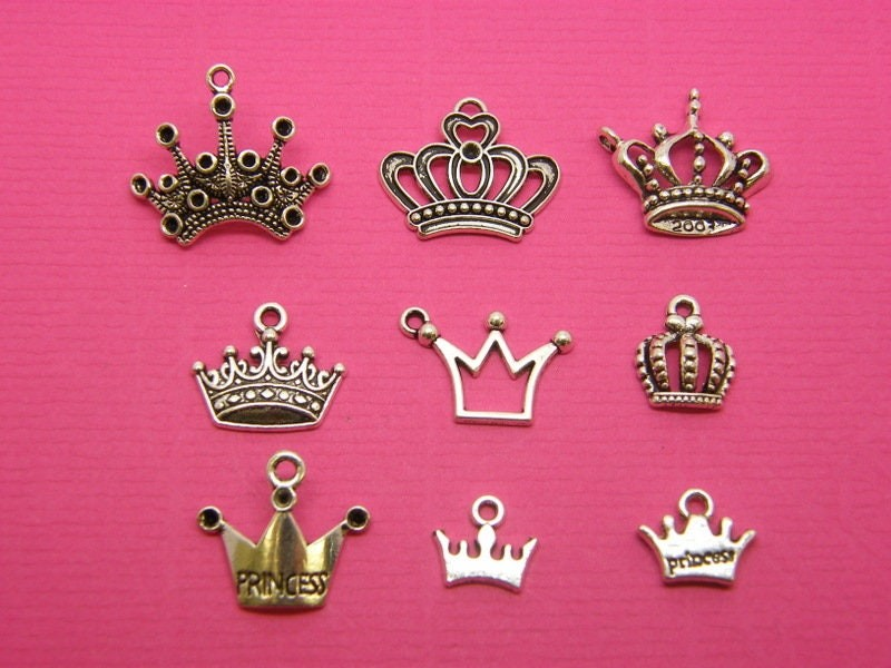 The Crown  Charms Collection - 9 different antique  silver tone charms