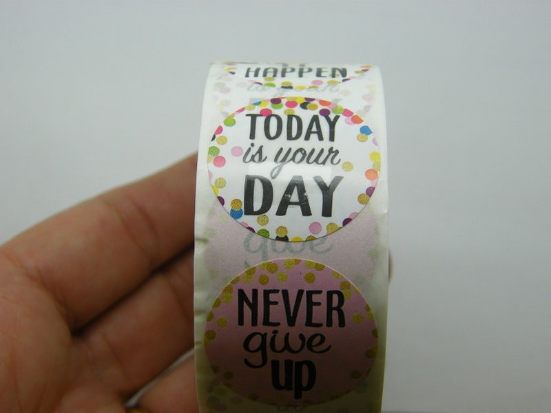 1 Roll motivational words 500 stickers style 2