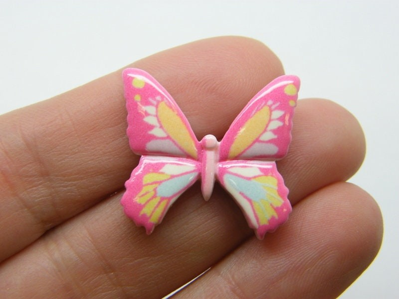8 Butterfly embellishment cabochons pink resin A803