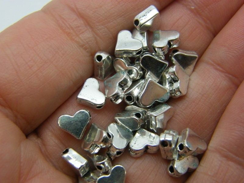 50 Heart spacer beads antique silver tone H185