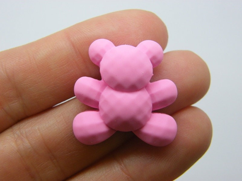 BULK 50 Teddy bear embellishment cabochons pink resin P317