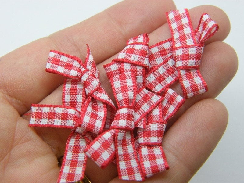 20 Gingham  ribbon bows red white material FS