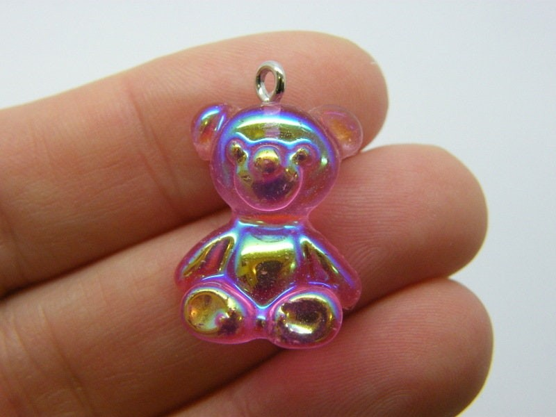 2 Fuchsia pink teddy bear pendants AB resin P544