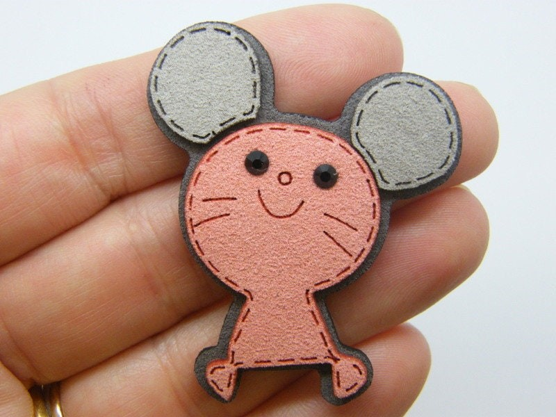 4 Mouse embellishments cabochon patches pink grey faux suede A1146