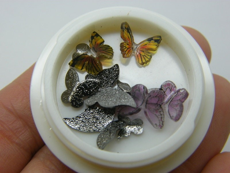 10 Butterfly embellishment cabochons nail art resin A921
