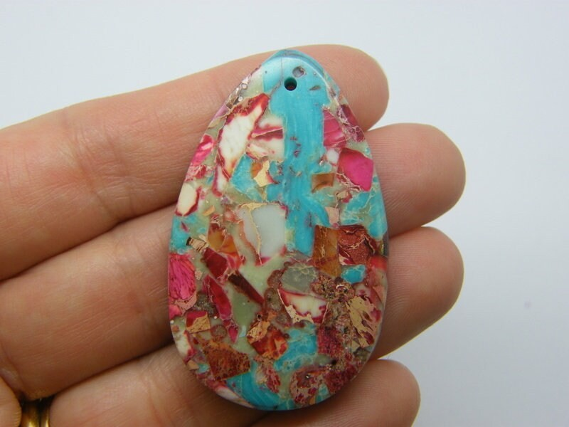 1 Synthetic turquoise blue pink teardrop pendant M500