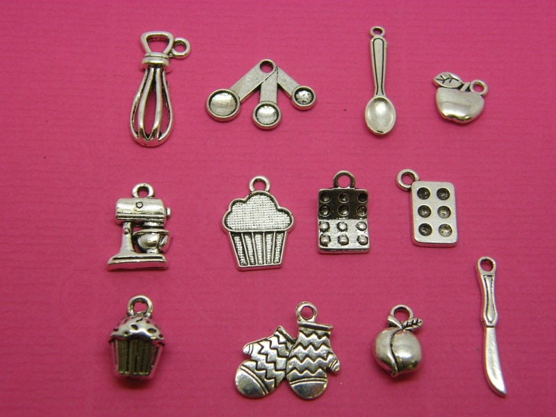 The Baking Collection - 12 different antique silver tone charms