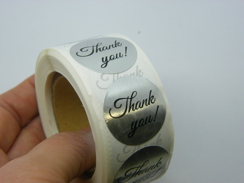 1 Roll Thank you ! words silver black 500 stickers