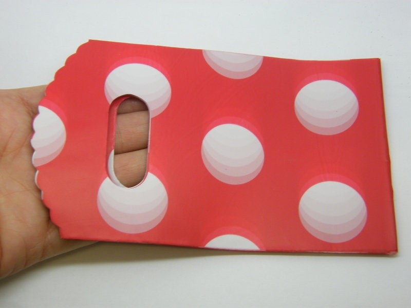 50 Plastic bags packets red white big polka dots 9 x 18cm