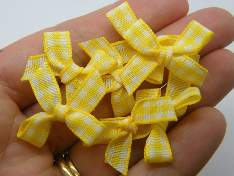 20 Gingham  ribbon bows yellow white material FS