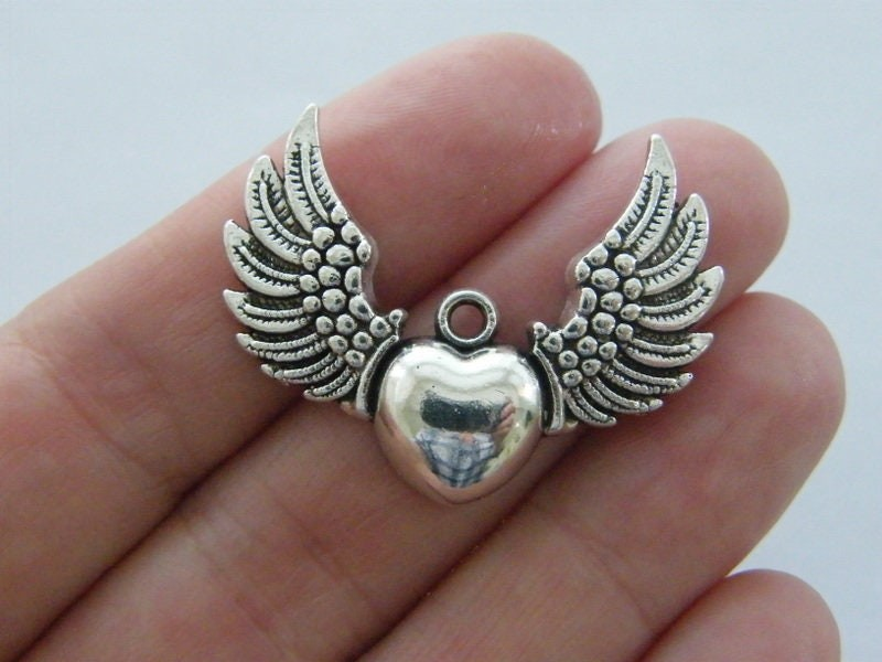 6 Heart with angel wings pendants antique silver tone AW67