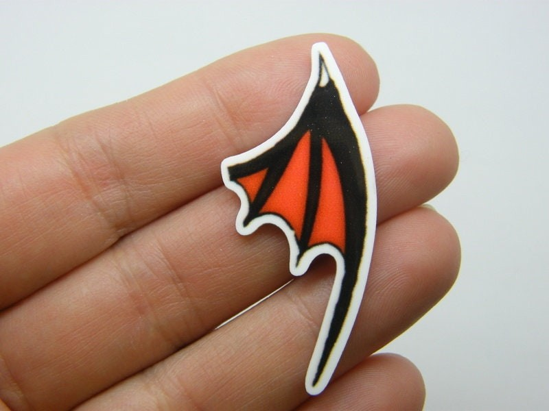 4 Bat wing embellishment cabochons resin HC562