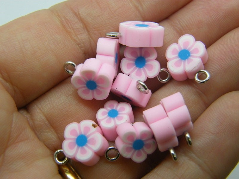 14 Flower charms pink polymer clay F284