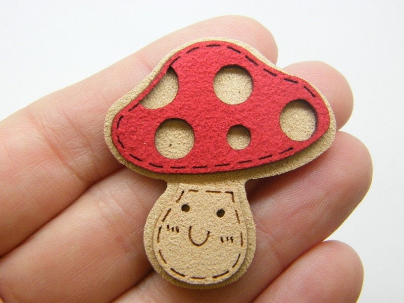 6 Mushroom embellishments cabochon patches red brown faux suede L389
