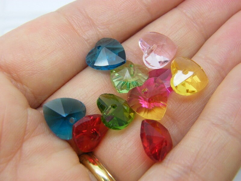 1 Box 72 faceted heart birthstone charms glass