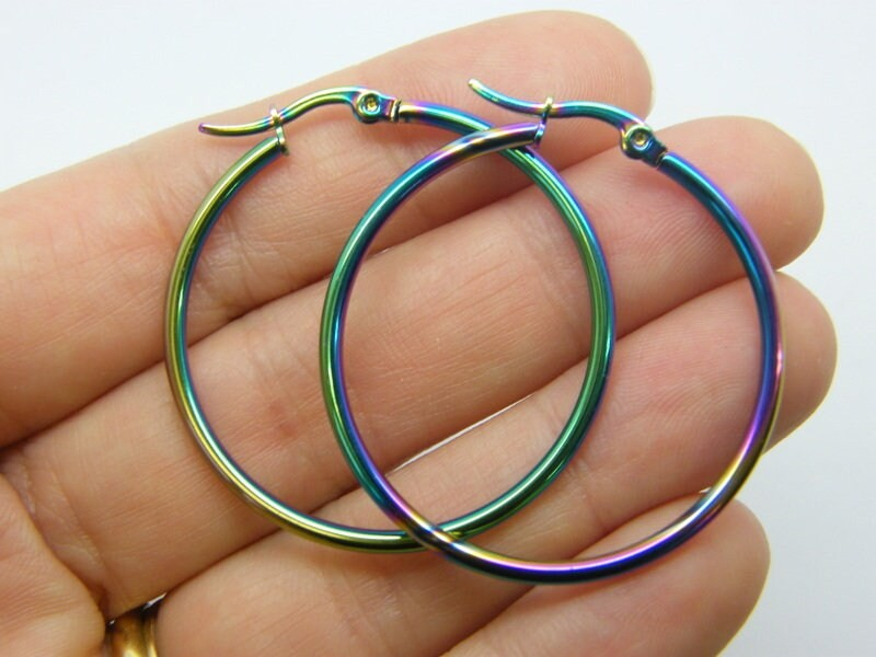 2 Stainless steel earring hoops 39mm multi colour tone 07M