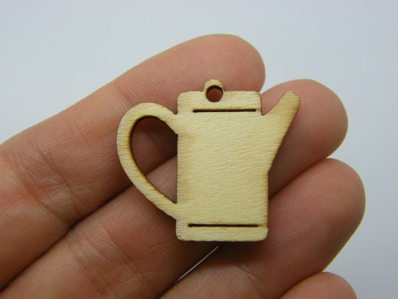 10 Watering can charms natural poplar wood P3