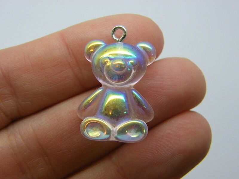 2 Clear teddy bear pendants AB resin P545