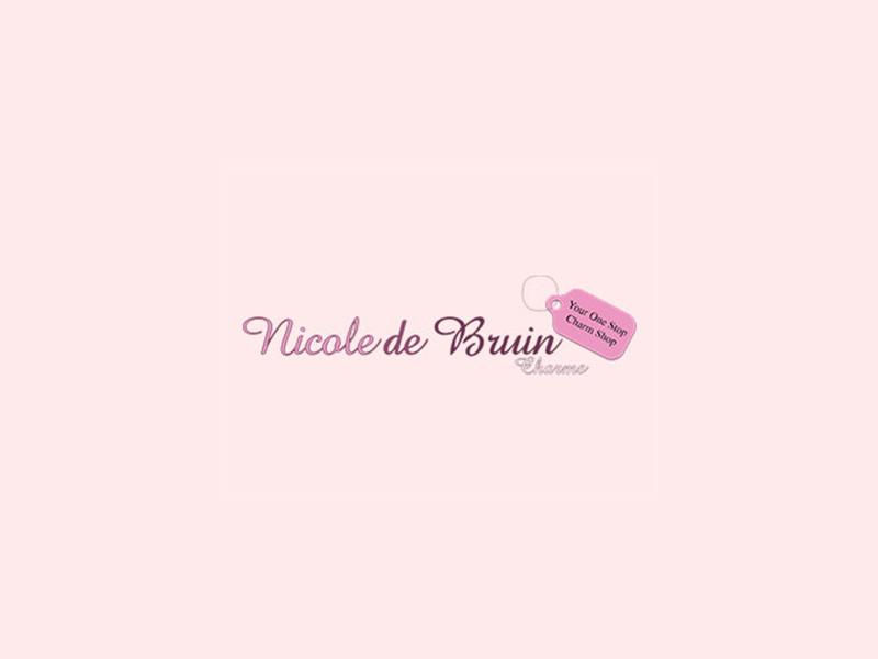 2 Green teddy bear pendants AB resin P610