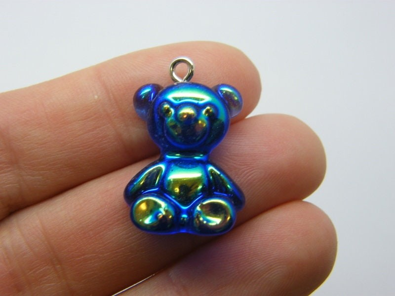 2 Royal blue teddy bear pendants AB resin P546