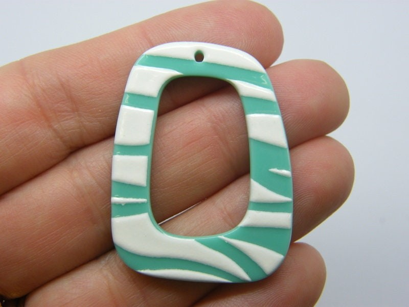2 Trapezoid stripe pattern pendants green white acrylic M195