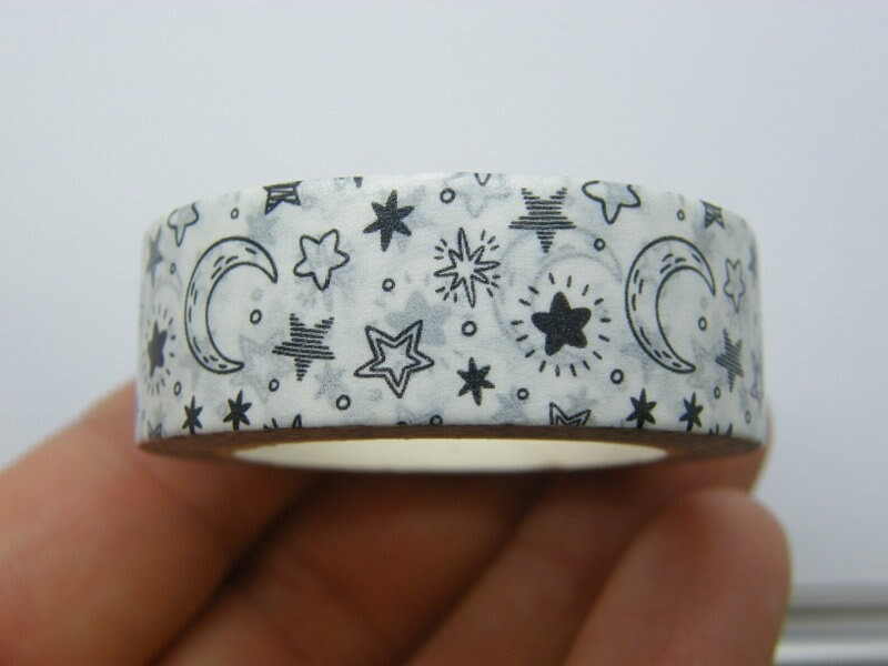 1 Roll moon and stars white washi tape ST