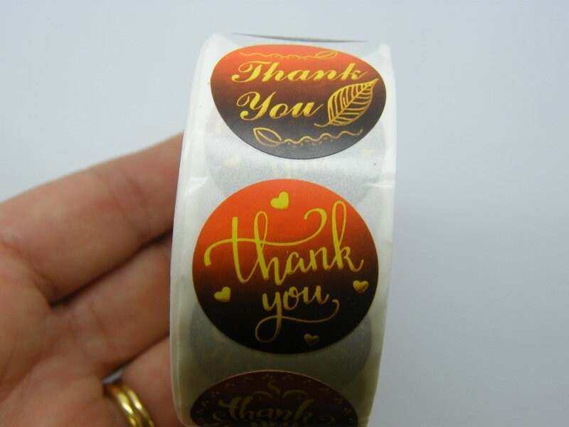 1 Roll Thank you words yellow brown orange 500 stickers