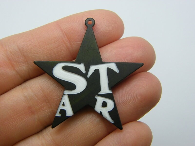 2 Star and word star pendants white black S261