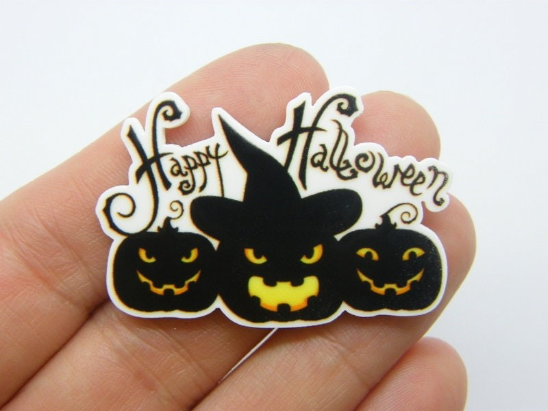 4 Happy Halloween pumpkin embellishment cabochon HC595