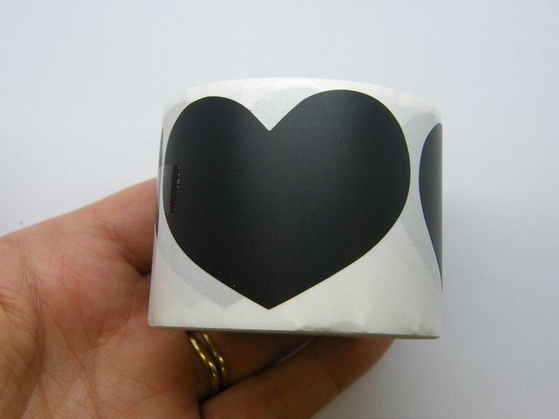 1 Roll 150 black  heart stickers 41 x 60mm