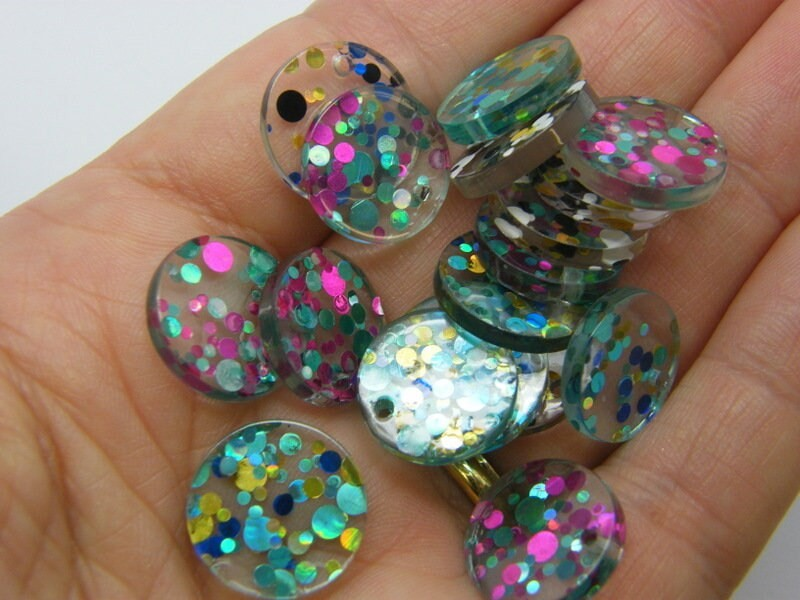 8 Glitter sequins charms random mixed clear resin M606