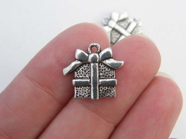 BULK 50 Gift or present Christmas charms antique silver tone CT77