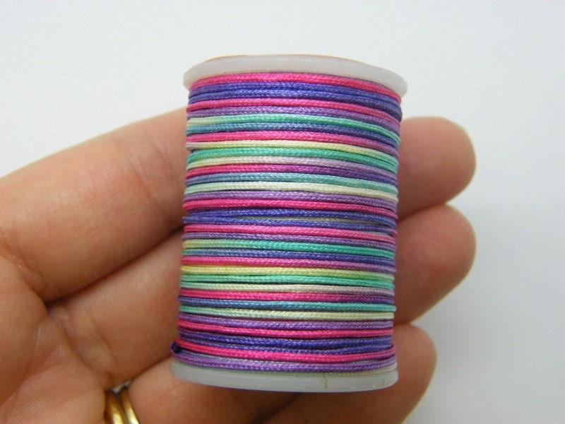 7 Meter mixed colours polyester braided cord string nylon string 0.7mm thick  FS11