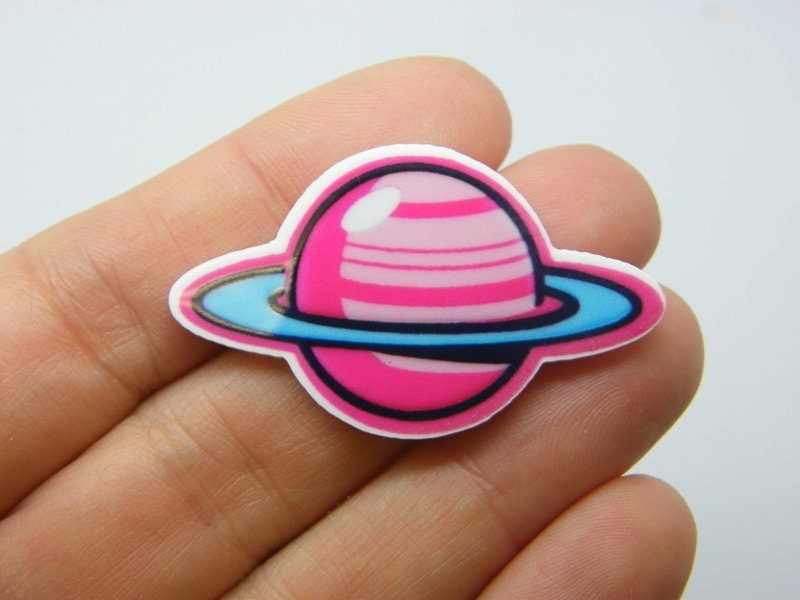 4 Saturn planet embellishment cabochons resin S28
