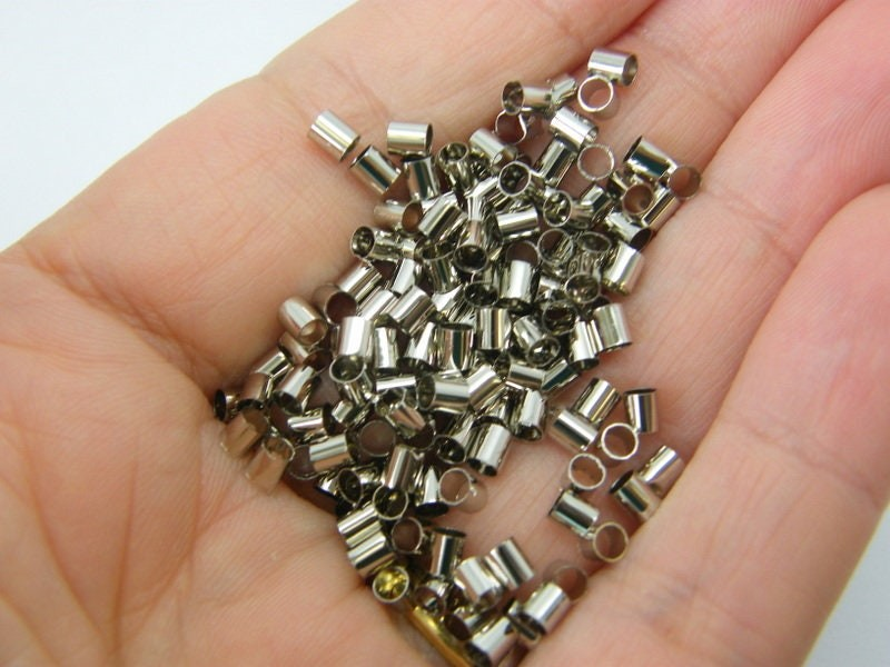 500 Tube crimps silver tone 3 x 3mm brass FS444